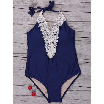 Lace Trim Halter One Piece Swimwear
