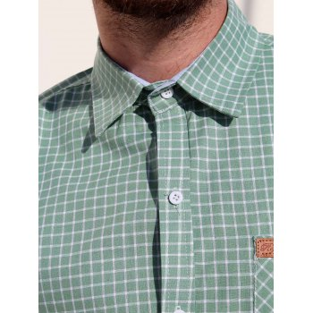 Turn-Down Collar Long Sleeve Slimming Checked Leather Tag Men's Shirt - GREEN M