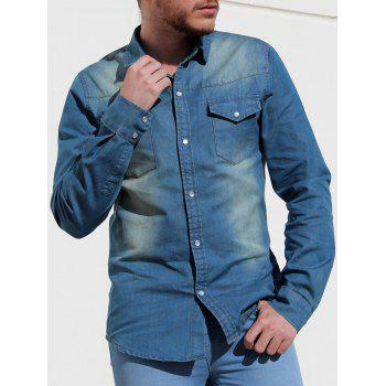 Modish Simple Turn-Down Collar Patch Pocket Long Sleeve Men's Denim Shirt
