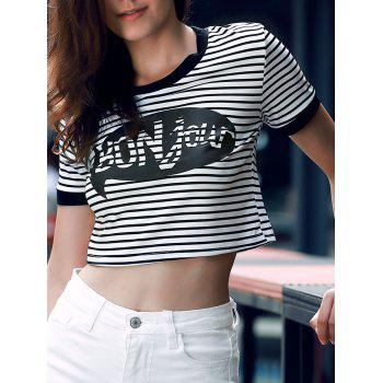 Graphic Striped Cropped T-Shirt - STRIPE M