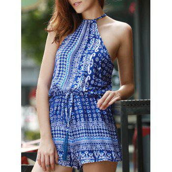 Sexy Round Collar Sleeveless Hollow Out Printed Women's Romper