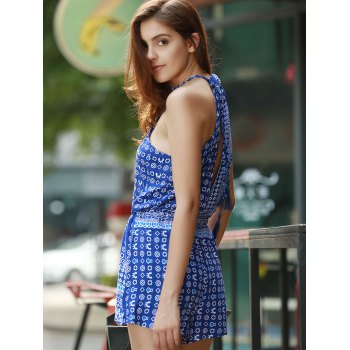 Sleeveless Hollow Out Printed Romper - BLUE M