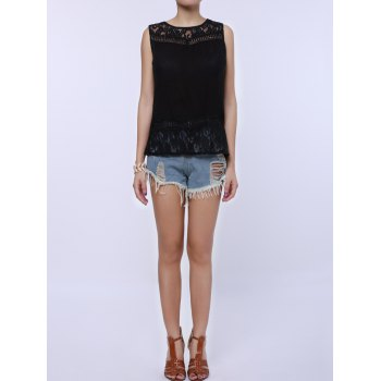 Splt Back Chiffon Lace Tank Top - BLACK M