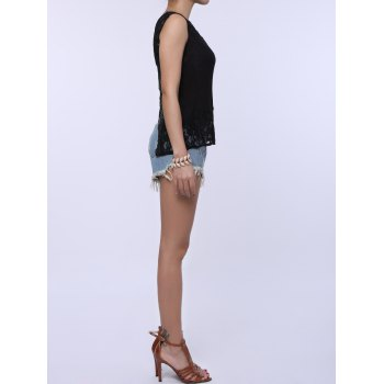 Splt Back Chiffon Lace Tank Top - M M