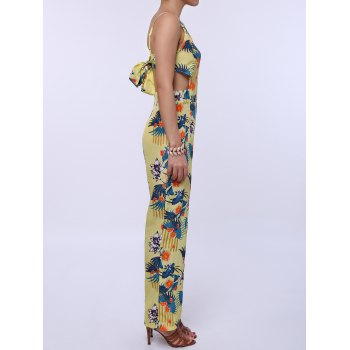 Fashionable Women's Spaghetti Strap Floral Print Backless Jumpsuit - YELLOW S