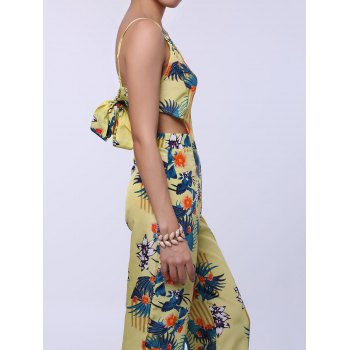 Fashionable Women's Spaghetti Strap Floral Print Backless Jumpsuit - YELLOW M
