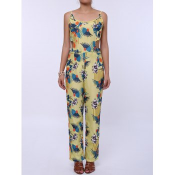 Fashionable Women's Spaghetti Strap Floral Print Backless Jumpsuit