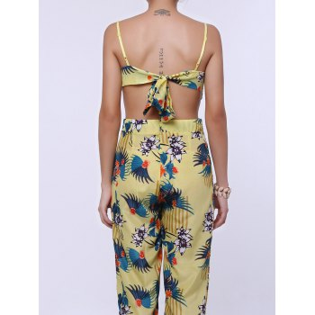 Fashionable Women's Spaghetti Strap Floral Print Backless Jumpsuit - YELLOW XL