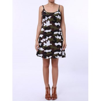 Stylish Spaghetti Strap Camouflage Pattern Women's Sundress