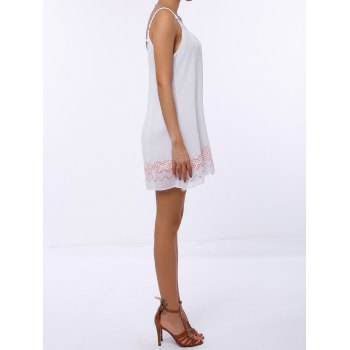 Trendy Spaghetti Strap Colorful Hem Dress For Women - WHITE M