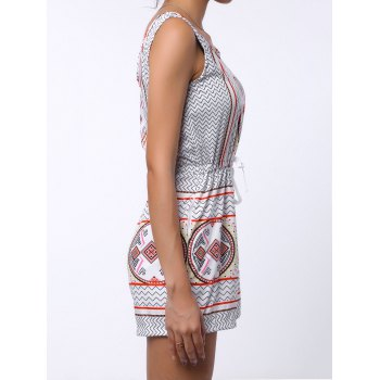 Brief Geometrical Print Scoop Neck Open Back Sleeveless Romper For Women - COLORMIX XL