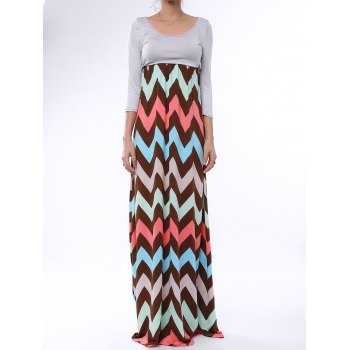 Bohemian 3/4 Sleeve Scoop Collar Zig Zag Women's Maxi Dress