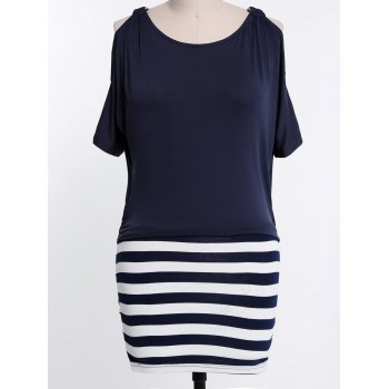 Stylish Scoop Collar Short Sleeve Striped Spliced Plus Size Women's Dress