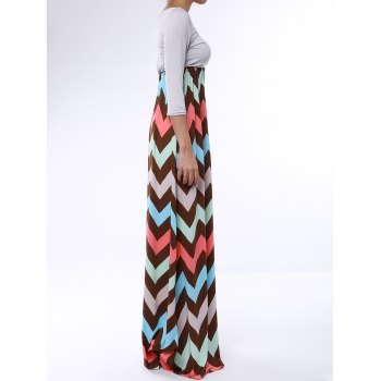 Bohemian 3/4 Sleeve Scoop Collar Zig Zag Women's Maxi Dress - COLORMIX XL
