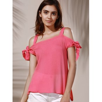 Chic Spaghetti Strap Solid Color Cut Out Women's Blouse - LIGHT PINK M
