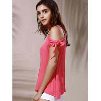 Chic Spaghetti Strap Solid Color Cut Out Women's Blouse - LIGHT PINK XL