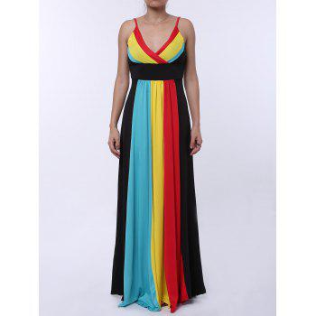 Sexy Spaghetti Strap Sleeveless Color Block Women's Maxi Dress
