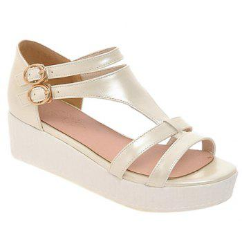 Casual Solid Color and T-Strap Design Women's Sandals