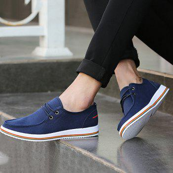 Trendy Lace-Up and Splicing Design Men's Canvas Shoes - BLUE 41