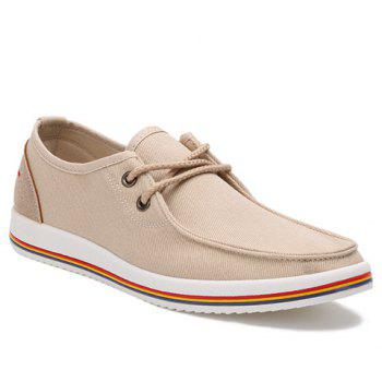Trendy Lace-Up and Splicing Design Men's Canvas Shoes