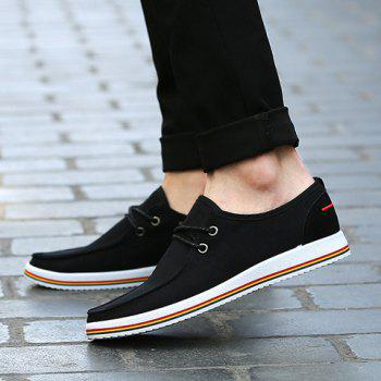 Trendy Lace-Up and Splicing Design Men's Canvas Shoes - 43 43