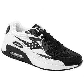 Trendy Star Pattern and Splicing Design Men's Athletic Shoes - WHITE AND BLACK WHITE/BLACK