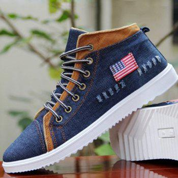 Fashionable Denim and Lace-Up Design Men's Casual Shoes - 43 43
