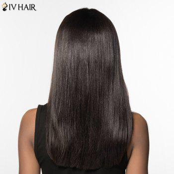 Trendy Siv Hair Full Bang Long Natural Straight Human Hair Women's Wig -  JET BLACK