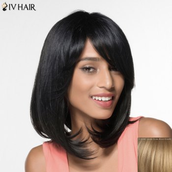 Women's Siv Hair Fashion Side Bang Natural Straight Human Hair Wig - GOLDEN BROWN WITH BLONDE GOLDEN BROWN/BLONDE