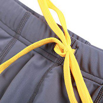 Side Snap Fastener Buttons Lace-Up Men's Swimming Trunks - GRAY XL