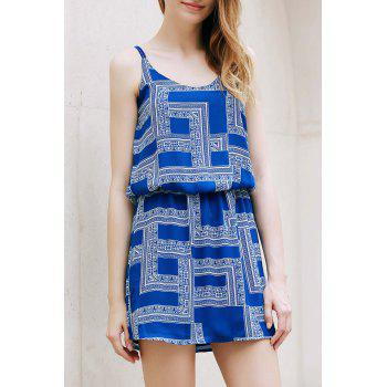 Trendy Spaghetti Strap Chiffon Geometric Print Women's Dress