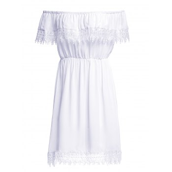 Fashionable Off The Shoulder Pure Color Lace Spliced Women's Dress