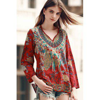Retro Style 3/4 Sleeve V-Neck Floral Pattern Women's T-Shirt - COLORMIX S