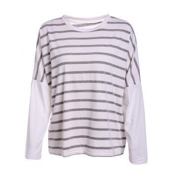 Leisure Style Round Collar Loose-Fitting Striped Women's T-Shirt