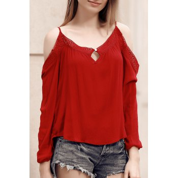 Chic Spaghetti Strap Hollow Out Lace Spliced Women's Blouse - RED RED