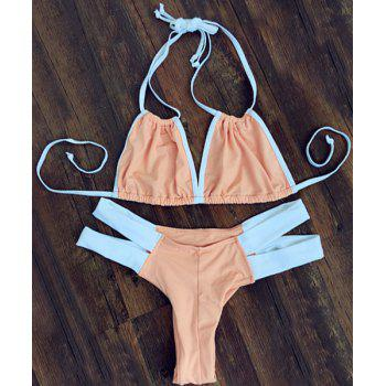 Stylish Color Block Double Halter Neck Women's Bikini Set