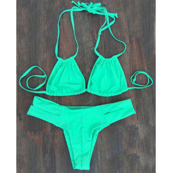 Alluring Solid Color Double Halter Neck Women's Bikini Set