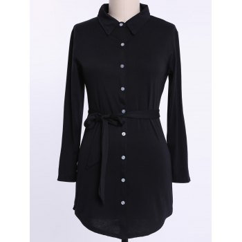 Shirt Collar Long Sleeve Pleated Plus Size Dress