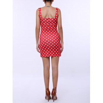 Plunging Neck Polka Dots Sleeveless Women's Vintage Bodycon Dress - XL XL