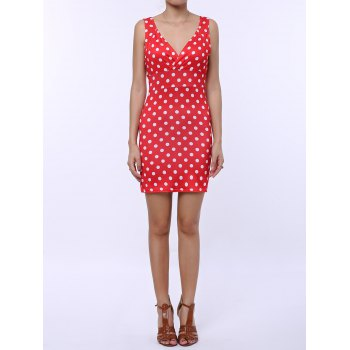 Plunging Neck Polka Dots Sleeveless Women's Vintage Bodycon Dress - RED XL