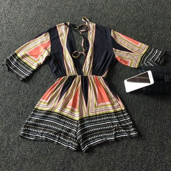 Trendy 3/4 Sleeve Plunging Neck Backless Multicolor Striped Women's Romper