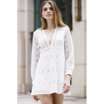 Trendy Long Sleeve Plunging Neck Solid Color Hollow Out Women's Dress - WHITE S