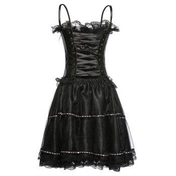 Chic Spaghetti Strap Bowknot Embellished Lace Spliced Women's Corset - M M