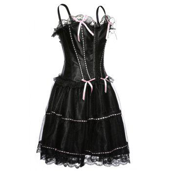 Chic Spaghetti Strap Bowknot Embellished Lace Spliced Women's Corset - 3XL 3XL
