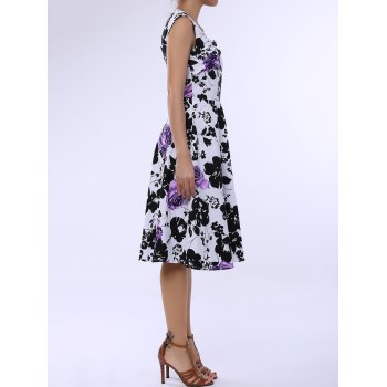 Retro Style Square Neck Sleeveless Flower Pattern Women's Dress