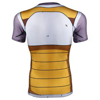 Cool Dragon Ball Z Freeza Battle Pattern Round Neck Short Sleeves Men's Tight T-Shirt - COLORMIX L