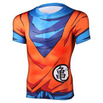 Close-Fitting Round Neck Short Sleeves Dragon Ball Men's 3D Printed T-Shirt
