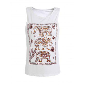 Elephant Printed Scoop Neck Tank Top