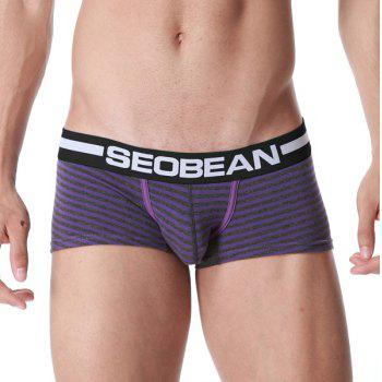 U Pouch Design Letter Print Stripe Men\'s Boxer Brief - PURPLE 2XL