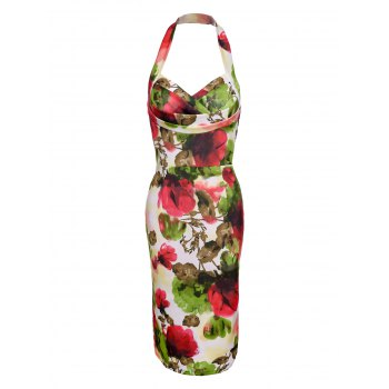 Fashionable Halter Multicolor Skinny Floral Print Women's Dress